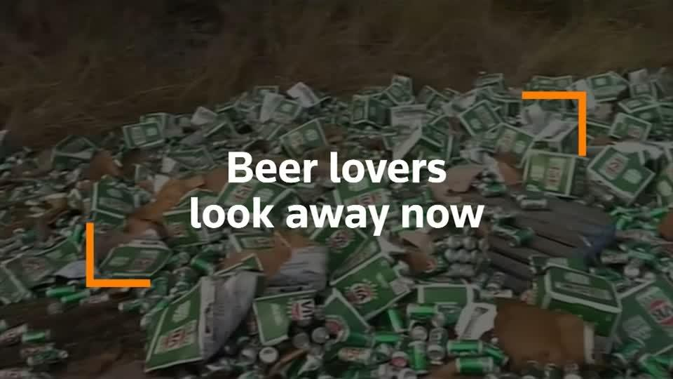 Hundreds of cases of beer destroyed in Australia truck crash