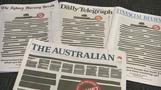Ruf nach Pressefreiheit - Australische Zeitungen erscheinen mit geschwärzten Titelseiten