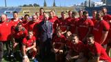 Prince Charles attends Wales rugby training session in Tokyo