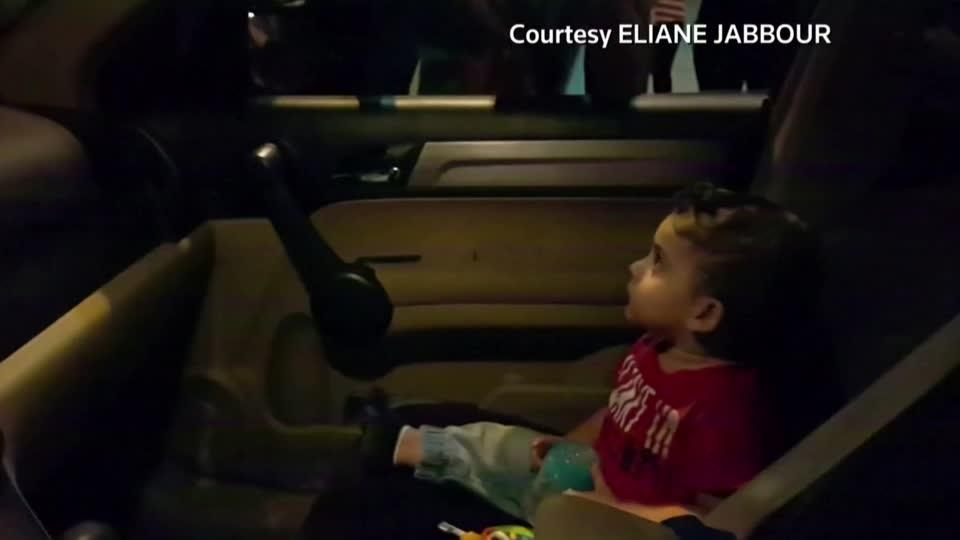 Lebanon protesters calm toddler with 'Baby Shark'
