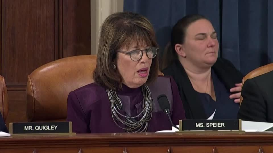 Applause after Rep. Speier says Trump has 'five Pinocchios on a daily basis'