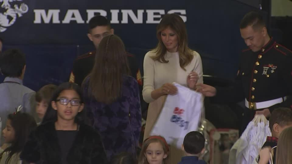 Melania gives gifts at 'Toys for Tots' holiday drive