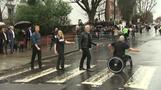 UK's Prince Harry and Bon Jovi recreate Abbey Road Beatles cover