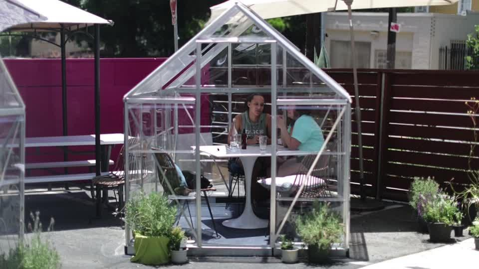 Los Angeles cafe shields diners with private 'greenhouses'