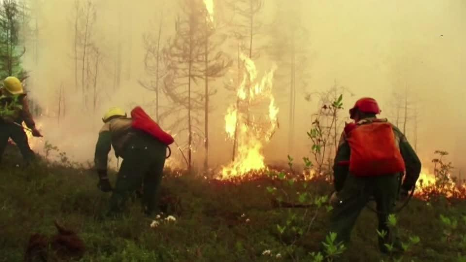 Russian firefighters battle wildfires in Siberia