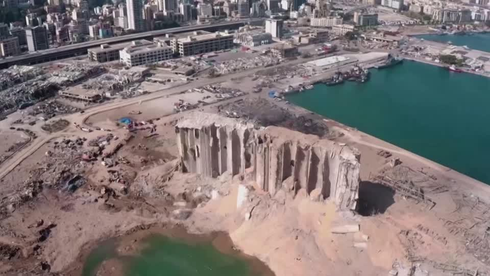 Aerial footage of Beirut destruction