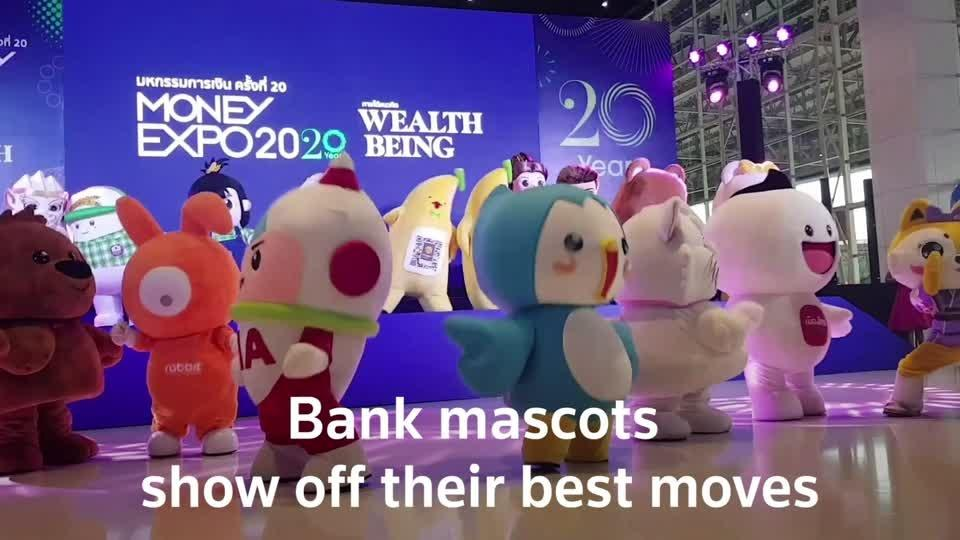 Bank mascots move and groove in Bangkok dance-off