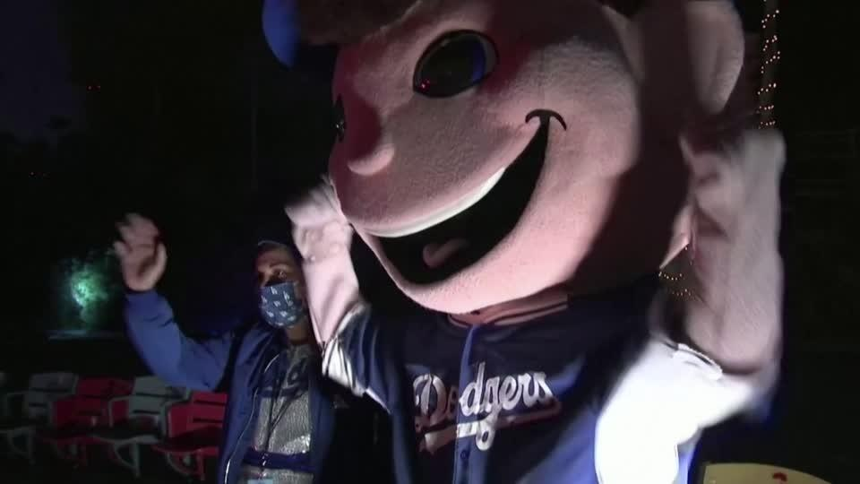 A festive drive-through celebration for Dodgers' fans