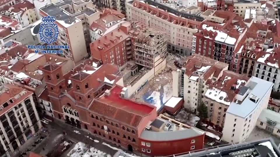 Aerials capture destruction of Madrid building blast
