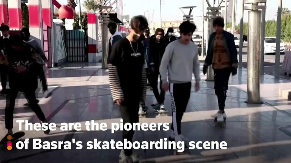 Basra youth explore the city on skateboards