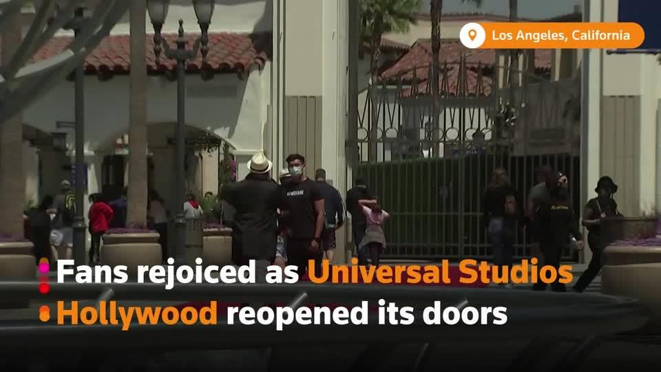"""It just feels so good"": Universal Studios theme park reopens"