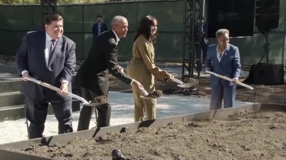 Obamas break ground on presidential center