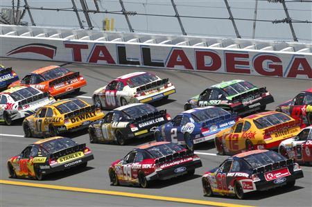 Cars Compete During The Aarons 499 NASCAR Event At Talladega Superspeedway In Alabama April 29 2007 REUTERS Robert LeSieur