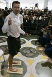 <p>O técnico da seleção brasileira, Dunga, coloca os pés no Hall da Fama do Maracanã nesta terça-feira. Photo by Bruno Domingos</p>
