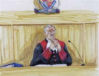 <p>An artist sketch shows Judge James Williams during the trial of accused serial killer Robert Pickton in New Westminster, British Columbia November 30, 2007. Pickton is currently on trial for the murders of six Vancouver women and is expected to stand trial on a remaining 20 charges at a later date. REUTERS/Felicity Don/Handout</p>