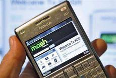 <p>La home page del sito di social networking di Nokia, Mosh, 2 ottobre 2007. REUTERS/Bob Strong</p>