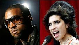 <p>Hip hop artist Kanye West (L) and British pop singer Amy Winehouse are seen in this combination photo. West scored a leading eight nominations for the 50th annual Grammy Awards, while Winehouse followed with six Grammy bids. REUTERS/Eric Thayer (L) and Dylan Martinez</p>