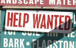 <p>A sign at a landscape supply company advertises available jobs in Arvada, Colorado October 5, 2007. Canada's economy once again created more jobs than expected in November, adding 42,600 to payrolls in November in a sign of resilience to turmoil in the U.S. housing sector and financial market disruption. REUTERS/Rick Wilking</p>