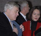 <p>Conrad Black arrives for his sentencing hearing with his wife Barbara Amiel Black in Chicago, December 10, 2007. REUTERS/Stephen J. Carrera</p>