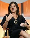 """<p>Talk show host Rachael Ray gestures during a CBS panel at the """"Television Critics Association"""" summer 2006 media tour in Pasadena, California July 16, 2006. Ray has signed a new two-year deal with Food Network. REUTERS/Mario Anzuoni</p>"""