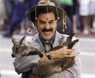 "<p>British actor Sacha Baron Cohen, in character as a Kazakh TV reporter known as 'Borat', holds a baby kangaroo in Sydney November 13, 2006 during the Australian premiere of his film ""Borat: Cultural Learnings of America for Make Benefit Glorious Nation of Kazakhstan"". Cohen says the time has come to shed forever his persona as Borat, the boorish, oversexed, TV journalist from Kazakhstan who became a surprise box office sensation last year. REUTERS/David Gray</p>"