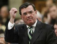 <p>Canada's Finance Minister Jim Flaherty stands to speak in the House of Commons on Parliament Hill in Ottawa December 13, 2007. REUTERS/Chris Wattie</p>