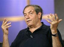 """<p>Creator and executive producer Dick Wolf gestures at the panel for the NBC television series """"Law & Order"""" during the """"Television Critics Association"""" summer 2006 media tour in Pasadena, California, July 21, 2006. REUTERS/Mario Anzuoni</p>"""