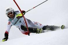 <p>L'austriaco Mario Matt nello slalom di Adelboden, 6 gennaio 2008. REUTERS/Stefan Wermuth</p>