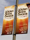 <p>Banners promoting the 65th Annual Golden Globe Awards on the NBC television network are seen attached to street light poles in Los Angeles January 8, 2008. REUTERS/Fred Prouser</p>