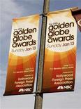 <p>Banners promoting the 65th Annual Golden Globe Awards on the NBC television network are seen attached to street light poles in Los Angeles January 8, 2008. REUTERS/Fred Prouse</p>