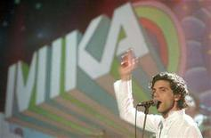 """<p>Mika performs on stage during the TV Show """"Wetten Dass"""" in Graz December 8, 2007. Mika, boy band Take That and reality TV star Leona Lewis took the lead when nominations for the Brits awards were announced for an industry struggling to adapt to the digital age. REUTERS/Herwig Prammer</p>"""