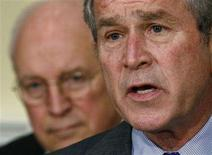 <p>US President George W. Bush (R) makes a statement on the economy in the Roosevelt Room with Vice President Dick Cheney, at the White House in Washington, January 18, 2008. Director Oliver Stone, who has made movies about Presidents Kennedy and Nixon, is developing a project about the current occupant of the White House, but promises it will not be a hatchet job, Daily Variety reported on Sunday. REUTERS/Jim Young</p>