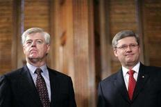 <p>Former Liberal Deputy Prime Minister John Manley (L) pauses after presenting Prime Minister Stephen Harper with the report from the Independent Panel on Canada's Future Role in Afghanistan, in Harper's office on Parliament Hill in Ottawa January 22, 2008. REUTERS/Chris Wattie</p>