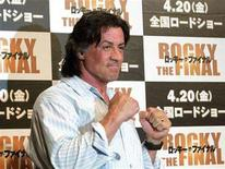 """<p>Sylvester Stallone poses for photographers during a news conference to promote his latest movie """"Rocky the Final"""" (known as """"Rocky Balboa"""" outside Japan) in Tokyo March 26, 2007. REUTERS/Toshiyuki Aizawa</p>"""