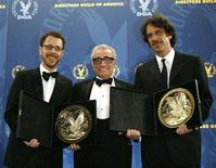 "<p>Director and presenter Martin Scorsese (C) poses with directors Ethan Coen (L) and Joel Coen after they received the award for outstanding directorial achievement for the feature film ""No Country for Old Men"" at the 60th Annual Directors Guild of America Awards in Century City, California January 26, 2008. REUTERS/Mario Anzuoni</p>"