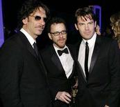 "<p>Directors Joel Coen and Ethan Coen with star Josh Brolin (L-R) from ""No Country for Old Men"" attend the 14th annual Screen Actors Guild Awards in Los Angeles January 27, 2008. ""No Country for Old Men"" won the top film prize from Hollywood's producers on Saturday, making it the clear front-runner in the race to the Oscars. REUTERS/Danny Moloshok</p>"