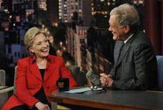 """<p>Democratic Presidential candidate Senator Hillary Clinton (D-NY) talks with host David Letterman on the """"Late Show with David Letterman"""" in New York February 4, 2008. Clinton hit the late-night television airwaves on Monday, ahead of the all-important Super Tuesday voting, and took the opportunity to explain what influence her husband would have in her administration. REUTERS/John Paul Filo-CBS/Handout</p>"""