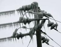 <p>Un palo dell'elettricità nel ghiaccio vicino a Pingshi, nella provincia di Guangdong. REUTERS/Bobby Yip</p>