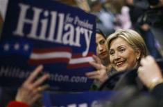 <p>Democratic presidential candidate Senator Hillary Clinton (D-NY) greets supporters after a town hall meeting at the Lewiston Memorial Armory in Lewiston, Maine, February 9, 2008. REUTERS/Jim Young</p>