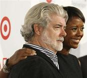 """<p>Director George Lucas and girlfriend Mellody Hobson, president of Ariel Capital Management, arrive at the American Film Institute's 40th anniversary event featuring screenings of classic films in Hollywood, California October 3, 2007. He said """"Revenge of the Sith"""" would be his final """"Star Wars"""" film, but creator Lucas is taking another shot at silver screens with the animated """"Star Wars: The Clone Wars"""" in movie theaters in August.REUTERS/Fred Prouser</p>"""
