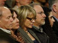 <p>Director Steven Spielberg and wife, actress Kate Capshaw (C), are seated in the audience at the Kodak Theatre in Hollywood, California January 31, 2008. REUTERS/Jason Reed</p>