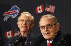 <p>Buffalo Bills owner Ralph Wilson and President and Chief Executive of Rogers Communications Inc, Ted Rogers (L), speak to the media about bringing the NFL to Toronto, in Toronto, February 6, 2008. REUTERS/Mark Blinch</p>