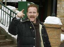 """<p>Morgan Spurlock, best known for his documentary film """"Supersize Me"""" and the new documentary in """"Where in the World is Osama Bin Laden"""" which is in competition at the 2008 Sundance Film Festival, gestures on Main Street in Park City, Utah January 20, 2008. REUTERS/Fred Prouser</p>"""
