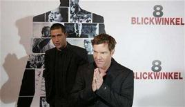"""<p>Actors Dennis Quaid (R) and Matthew Fox pose during a photocall to present the latest movie '8 Blickwinkel' (Vantage Point) in Berlin, February 16, 2008. The new assassination thriller """"Vantage Point"""" shot to the No. 1 spot at the weekend box office in North America while Oscar nominees """"Juno"""" and """"There Will Be Blood"""" enjoyed solid sales ahead of Sunday's Academy Awards ceremony. REUTERS/Tobias Schwarz</p>"""