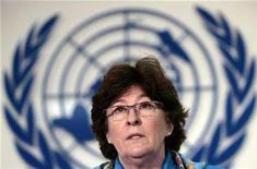 <p>Louise Arbour, U.N. High Commissioner for Human Rights, speaks during a news conference in Mexico City February 8, 2008. REUTERS/Andrew Winning</p>