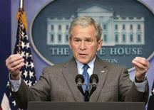 <p>President George W. Bush holds a news conference in the White House Press Briefing Room in Washington February 28, 2008. REUTERS/Larry Downing</p>