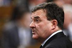 <p>Canada's Finance Minister Jim Flaherty stands to speak during Question Period in the House of Commons on Parliament Hill in Ottawa February 27, 2008. REUTERS/Chris Wattie</p>