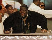 """<p>Rap singer Notorious B.I.G. is shown on stage at the 1996 Soul Train Music Awards in Los Angeles in this file photograph. Fox Searchlight has hired Jamal Woolard, a Brooklyn-based rapper, to play late rap icon Biggie Smalls, a.k.a. the Notorious B.I.G., in its upcoming biopic """"Notorious."""" REUTERS/Fred Prouser/Files</p>"""