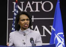 <p>Secretary of State Condoleezza Rice holds a news conference after a NATO foreign ministers meeting at the Alliance's headquarters in Brussels March 6, 2008. REUTERS/Yves Herman</p>