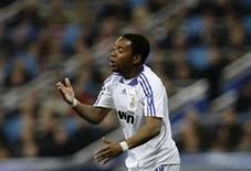 <p>O atacante do Real Madrid Robinho reage a um lance em partida contra a Roma, em Madri, na quarta-feira. Photo by Susana Vera</p>